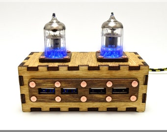 Wooden BLUE Double Pentode Radio Tubes 4 ports USB 2.0 HUB with vintage Ussr quality sign. Industrial/Fallout style !!! Free shipping !!!