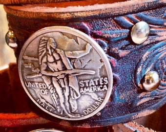 Rustic Embossed Leather Cuff with Coin Concho, Stamped Leather Design with Rivets, Men's and Women's style