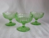 Vintage Green Vaseline Glass Ribbed Dessert Cup Set of Three