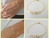 Infinity bracelet, double infinity, friendship bracelet, gold or silver, bridal party, bridesmaids gift, maid of honor bracelet