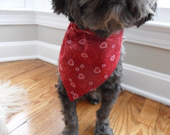 Red Dog Bandana, Cat Bandana, with hearts - available with matching collar and leash