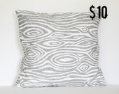 Gray Modern Woodgrain Faux Bois Pillow Cover - 18 x 18 Decorative Pillow Cover