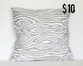 Gray Modern Woodgrain Faux Bois Pillow Cover - 18 x 18 Decorative Pillow Cover