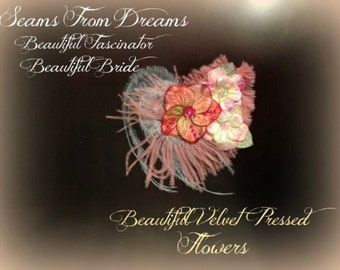 Beautiful Velvet Flower and Feather Bridal Fascinator