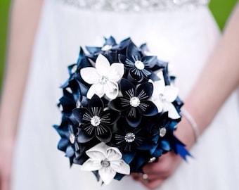 Kusudama paper flower bouquet, navy and white wedding, bridal bouquet, unique flowers, keepsake bouquet, anniversary flowers