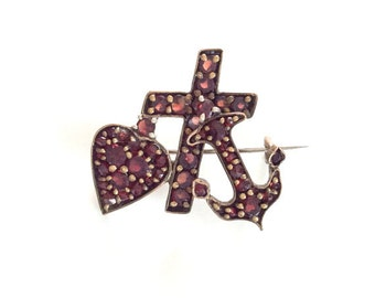 Bohemian Garnet Brooch, Victorian, Garnet, Faith Hope Charity Pin, Vintage Jewelry, Gift for Her VALENTINE SALE