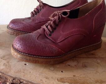 Vintage Platform Wedge Leather Oxfords, size Womens 7.5