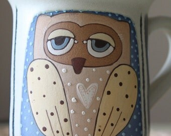Tea mug with sleepy owl