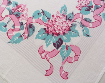 Pink Hydrangeas Vintage Tablecloth, Pink Ribbons, Cottage Kitchen, Vintage Luncheon Tablecloth, Pink and Turquoise