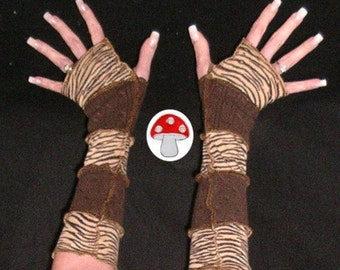 DEPOSIT Special Order Arm Warmers Tiger Stripes Fingerless Gloves Brown Tan Cat Woman Wrist Warmies Animal Print Touch Screen Mittens