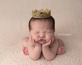 Basic Gold Lace Crown for Boy or Girl - Perfect Newborn Photo Prop