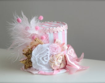 Vintage Pink Striped Circus Ring Master Inspired Light Pink, White and Gold  Mini Top Hat Headband (or fascinator)