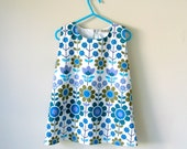Baby toddler girl dress summer A line pinafore jumper  dress retro 60s Scandinavian flowers