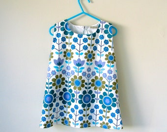 Baby toddler girl dress summer A line pinafore jumper  dress retro 60s Scandinavian flowers