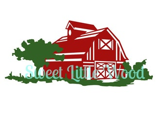 Rustic Red Barn and tree landscape 3 x digital SVG file in black line with white fill, no fill and color format. PNG included