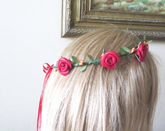 Today SALE Flower crown - headband -wedding accessory- colorful, Mustard ,red,blue,lavender headpiece - Leather rose -  Leaves Headband