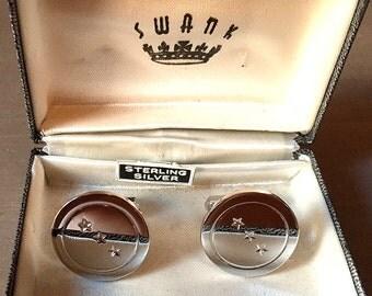 Stunning Vintage Modern Sterling Silver SWANK Cufflinks