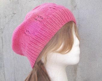 Pink Slouch Hat, Slouchy Hat, Slouchy Beanie, Flower Design, Hand Knit, Wool/Silk, Women & Teen Girls