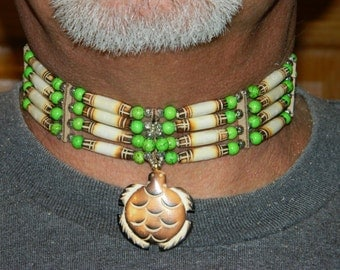 Native American Handcrafted Carved Burnt Buffalo Bone Choker with Turtle Center