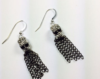 Silver Skull Head Earrings, Skull Earrings, Sterling Silver Skull Earrings, Goth Earrings, Skull and Tassel Earrings, Skull and Chains