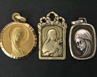 Set of Three Pendants, Pendants, Religious Pendants, Art Nouveau Pendants, Rosary Pendants, Our Lady Pendants (016)