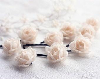 71_Silk roses, Champagne silk roses, Champagne wedding, Silk rose clips, Hair piece, Bobby pins roses silk, Floral hair pins Silk roses hair