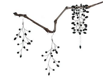 61651_Jewelry set earrings and bracelet, Wide bracelet, Dangle earrings, Black jewelry, Crystal earrings, Crystal bracelet, Wedding jewelry