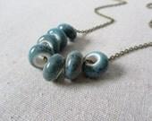 Blue Porcelain Necklace, Layering Necklace, Simple Boho Necklace, Handmade Necklace