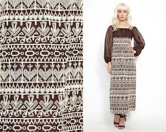 Vintage 60s 70s Heavily Embroidered Print Maxi Dress // Hippie Boho // Aztec Navajo South western