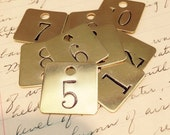 Custom hand punched square brass tag -  hand stamped key tag - key fob - hotel key tag - pet tag - numbers or letters on metal tags