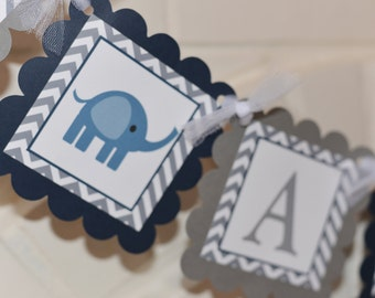 Elephant Baby Shower banner, Boys are Sweet, mod elephant, navy and grey, elephant banner