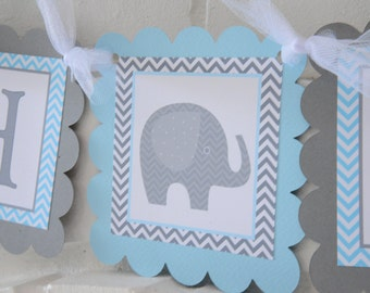 Showered with Love Baby Shower Banner Elephant Baby Girl Shower Decoration, Mod Elephant banner, Light Baby Blue and Gray