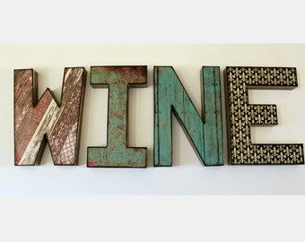 WINE Letters 12 inch Rustic Wine Lover Decor