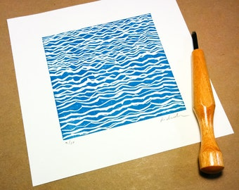 "Block print: Lake Ontario - limited edition hand pulled fine art block print (7 x 7"")"
