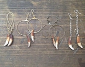 Antiqued Wolf Fang Hoop Earrings / Long Chain Dangle / Your Choice Gold tone/Silver/Bronze/Copper
