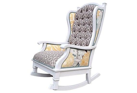Upholstered Rocking Chair Nursery Baby Tufted White Yellow Grey Aqua ...