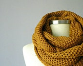 knit scarf, unisex scarves, Cowl Scarf Neck Warmer, dark mustard winter - fall women accessories, chunky cowl, infinity cowl