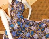 African Print Fabric Ankara Chiffon / Silk Classic 'Herald' African Print Hollandais Fabric by The Yard- Available in Chiffon and Silk