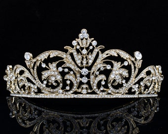 Gold Tiaras,Wedding Crown, Europe Imperial Style Tiara Bridal Hair Jewelry,Women Hair Accessories Party Hair Decorations XBY158GCL
