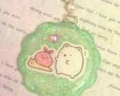 Sumikko Gurashi Polar Bear Teal Resin Necklace