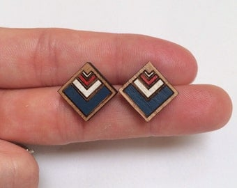 Wood laser cut earrings studs - chevron, navy blue, red and white - diamond or square