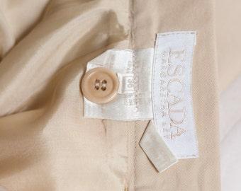 ESCADA Skirt Suit - 2 Piece, Belted Ladies Business Suit //  Designer Couture -  Khaki, Safari Style // Business suit,  3 Piece Suit.