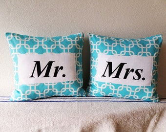 SET of TWO Aqua Mr and Mrs pillows 18""