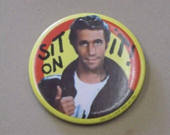 Vintage 1976 The Fonz, Sit On It, Pin