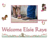 Western Cowgirl baby shower party Edible icing sheet custom cake decorations frosting top sugar