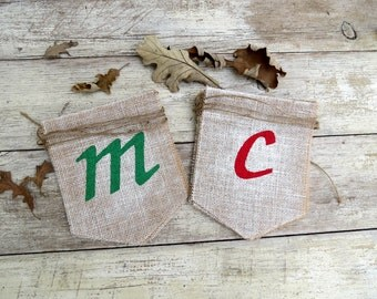 Merry Christmas Burlap Banner Photography Prop / Holiday Garland / Mantel Decor