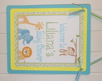 JUNGLE SAFARI Happy Birthday or Baby Shower Door or Welcome Sign - Party Packs Available