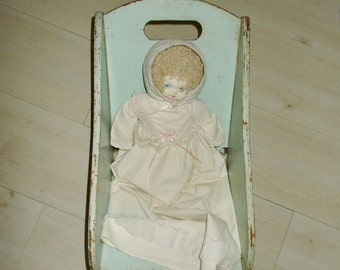 Vintage Wooden Baby Seat Doll Chair 1940's