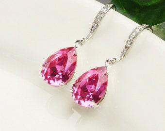 Swarovski Earrings - Hot Pink Earrings Silver - Rose Earrings - Bridesmaid Jewelry - Swarovski Drop Earrings - Bridesmaid Earrings - Bridal