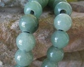 Large Hole Bead 4mm Hole 12mm Round Green Aventurine Gemstone Fit Leather 9  Beads